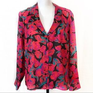 NWT Topshop Blouse Pink Rose Floral Button Down